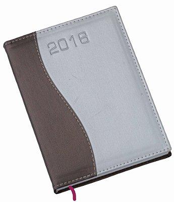 """LG155 Agenda Diária capa de couro sintético com detalhe """"S"""" em marrom"""