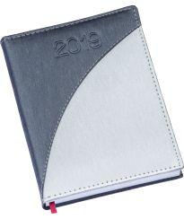 LG160 Agenda Diária capa em couro sintético prata e detalhe azul royal