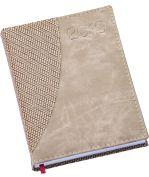 LG164 Agenda Diária capa em couro sintético bege com detalhe em palha