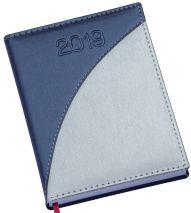 LG165 Agenda Diária capa em couro sintético prata detalhe azul marinho