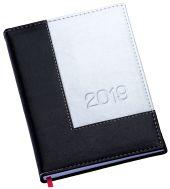 """LG166 Agenda Diária capa em couro sintético prata com detalhe """"L"""" preto"""