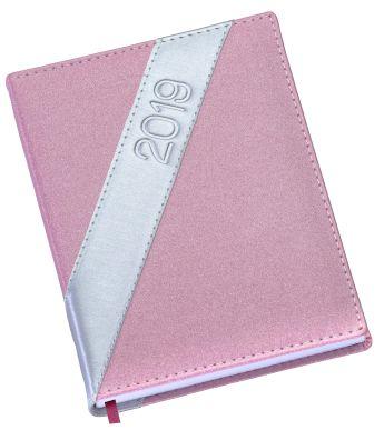 LG185 Agenda Diária Capa em couro sintético rosa com faixa prata