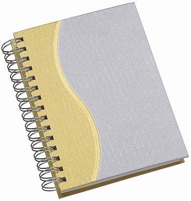 """LGS286 Agenda Wire-O Percalux """"S"""" em amarelo"""
