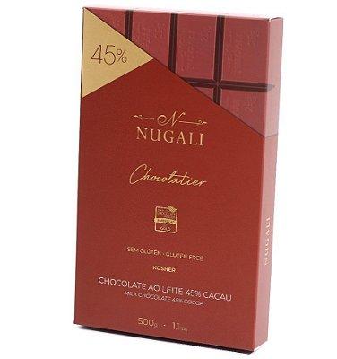 Chocolate Ao Leite Nugali 45% Cacau Barra De 500g Sem Glúten