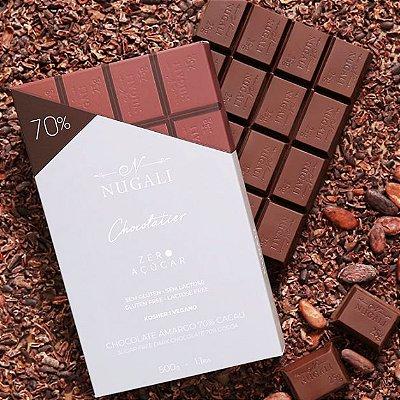 Chocolate Zero Açúcar Nugali 70% Cacau Sem Lactose Barra 500g