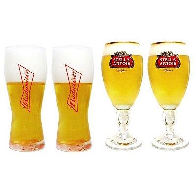 2 Taças Stella Artois + 2 Copos Budweiser