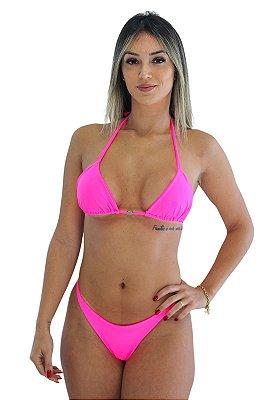 Biquíni Cortininha Com Bojo Levanta Bumbum Rosa Neon