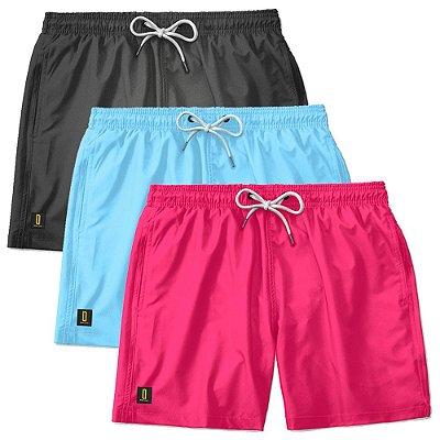 Kit 3 Shorts Masculino Bermuda Praia Ajustável Mauricinho Jr