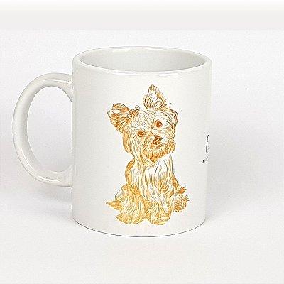 Caneca de cerâmica Yorkshire Terrier fundo branco 325ml - mod 06