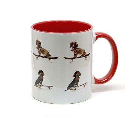 Caneca Dachshund cerâmica fundo vermelho 325ml - mod 03