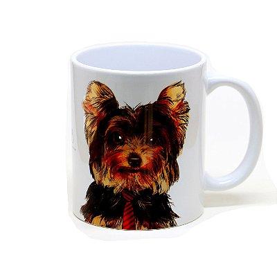 Caneca Yorkshire Terrier cerâmica  fundo vermelho 325ml - mod 01