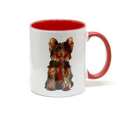 Caneca Yorkshire Terrier cerâmica fundo branco 325ml - mod 02