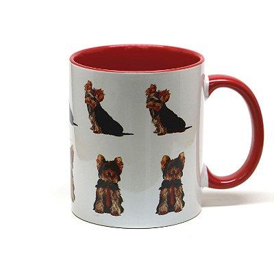 Caneca Yorkshire Terrier cerâmica fundo vermelho 325ml - mod 03