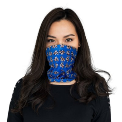 Máscara Bandana Shih-Tzu Azul - Modelo2