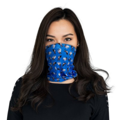 Máscara Bandana Buldogue Francês Azul - Modelo2
