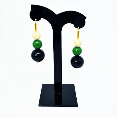 Brinco bolas pêndulo verde