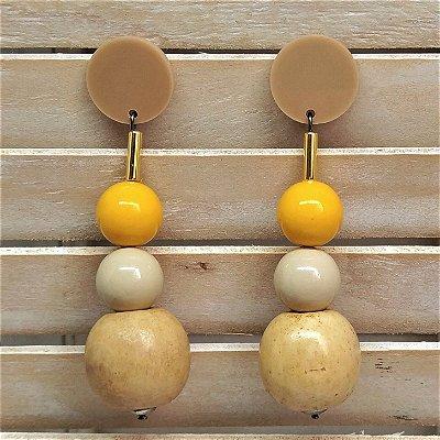 Brinco bolas pêndulo madeira