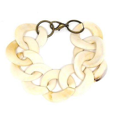 Maxi pulseira corrente acrílica off white