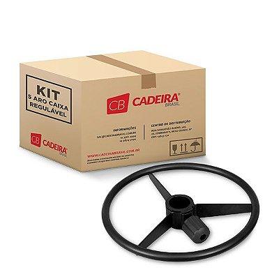 Kit com 5 Aro Caixa Regulável Check-Out Preto A112K Cadeira Brasil