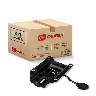 Kit com 5 Flange Secretária SF001K Preto Furação 12,5 x 12,5 cm Cadeira Brasil