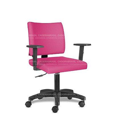 Cadeira Escritório Giratória Rosa Pink com Braços CB3027 Sintético Saldão