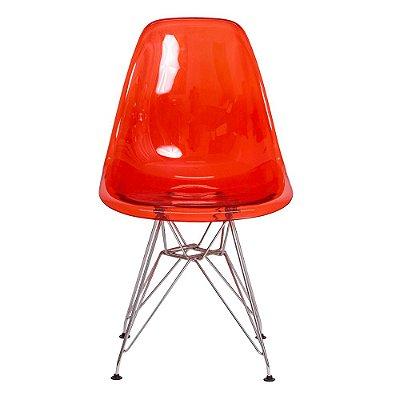 Cadeira Fixa Design Amaze Policarbonato Pés Cromado Cadeira Brasil