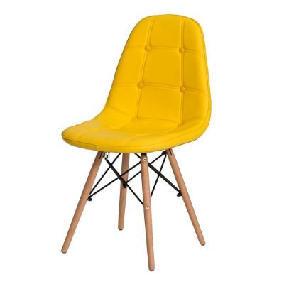 Cadeira Fixa Design Amaze Botonê PU Pés Madeira Cadeira Brasil
