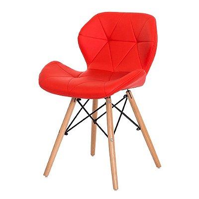 Cadeira Fixa Design Amaze Slim Polipropileno Revestido em PU Pés Madeira Cadeira Brasil