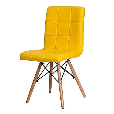 Cadeira Fixa Design Comfy Revestido em PU Pés Madeira Cadeira Brasil