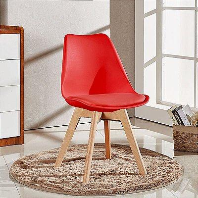 Cadeira Fixa Design Luxe Wood Polipropileno e PU Pés Madeira Cadeira Brasil