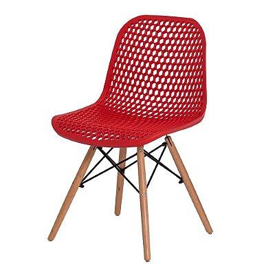 Cadeira Fixa Design Hexagon Polipropileno Pés Madeira Cadeira Brasil