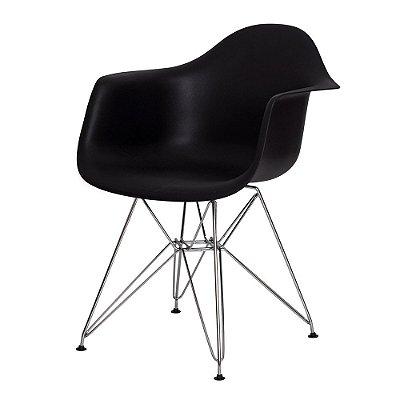 Cadeira Fixa Design Amaze com Braço Polipropileno Pés Cromado Cadeira Brasil