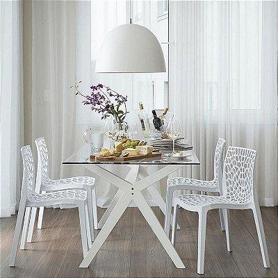 Cadeira Fixa Design Leaves Polipropileno Cadeira Brasil