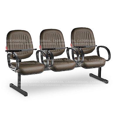 Longarina 3 Lugares Diretor Milão MLD13 Prancheta Escamoteável Cadeira Brasil