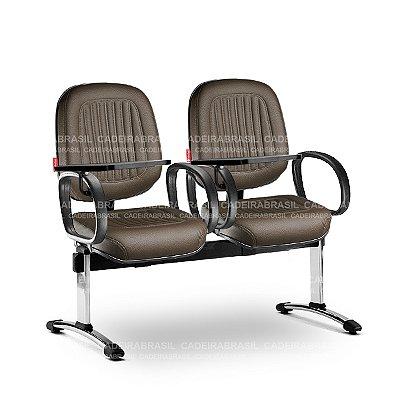 Longarina 2 Lugares Diretor Milão MLD62 Prancheta Escamoteável Cadeira Brasil