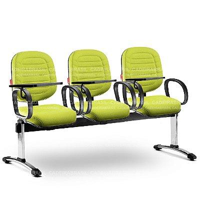 Longarina 3 Lugares Diretor Lacerta LCD63 Prancheta Escamoteável Cadeira Brasil