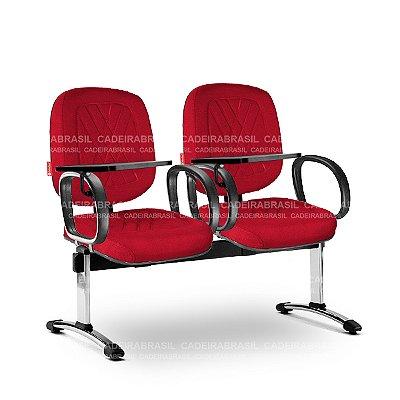 Longarina 2 Lugares Diretor Senna SND62 Prancheta Escamoteável Cadeira Brasil