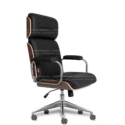 Cadeira Presidente Giratória com Apoio de Cabeça Wooden WDP52 Cadeira Brasil