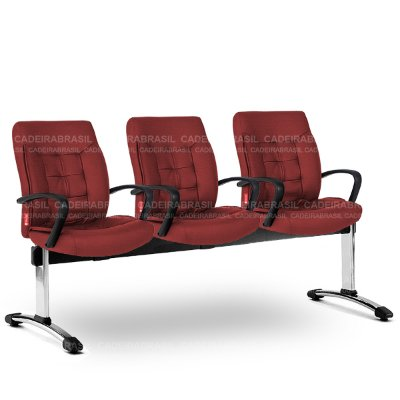 Longarina 3 Lugares Diretor Ômega OMD59 Cadeira Brasil