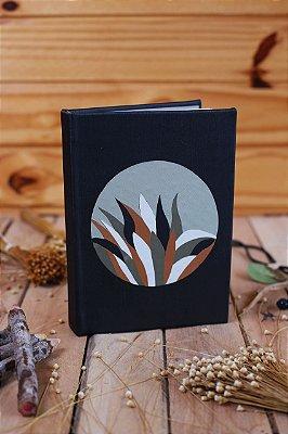 Marchetaria em couro ecológico - Caderno artesanal formato A5 - miolo em pólen bold