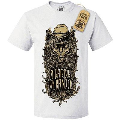 """Camiseta """"O BARDO E O BANJO"""" Masc. Branca"""