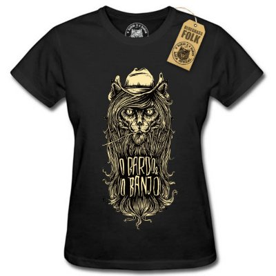 """Camiseta """"O BARDO E O BANJO"""" Fem. Preta"""