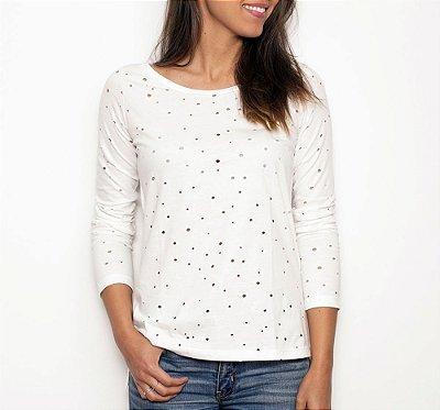 Camiseta Furos Manga Longa Branca