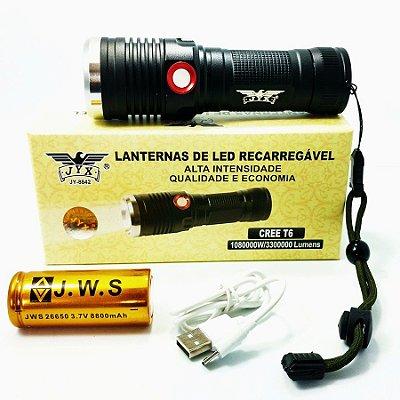 Lanterna Robusta Tática XML T6 Recarregável Camping Caça Bateria 26650 Litio 8842