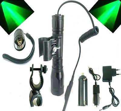 Lanterna Police Caça Led Cree Verde Utilização Com 1 Baterias Série Gold 8800 mAh