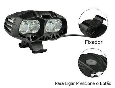 Super Lanterna Farol Bike 4 Leds Cree T6 Recarregavel Bateria 28800mAh