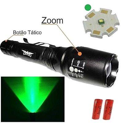 Lanterna Tática T6 Led Verde Utiliza 2 Bateria Recarregável