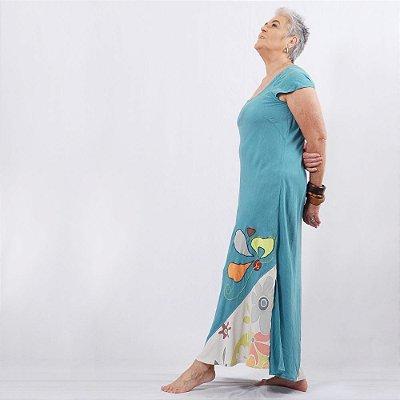 Vestido Plus Size de Tencel Azul Ciano