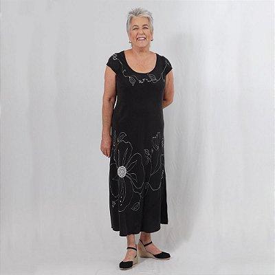 Vestido Plus Size de Tencel Bordado Preto