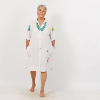 Vestido Chemise Plus Size de Tencel Branco